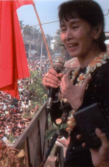Aung San Suu Kyi (1945-), Nobel laureate and Myanmar (formerly Burma) leader of a nonviolent human rights and restoration of democracy movement