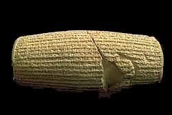 A Clay cylinder used to produce clay tablets inscribed with King Cyrus the Great of Persia's declaration of human rights