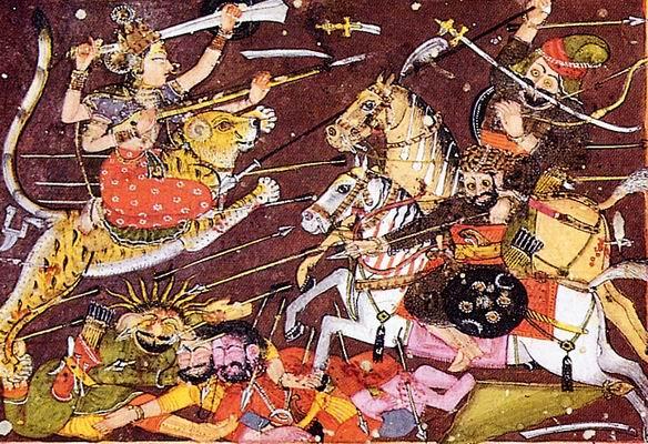 Battles between the devas and asuras. The cosmic wars between the deities were symbolic of the earthly wars between the two groups